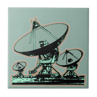 Retro Satellite Dish Graphic Tile