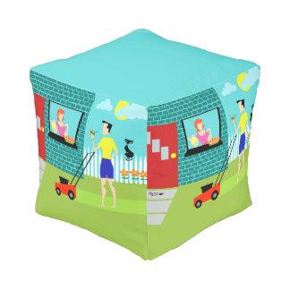 Retro Saturday Morning Cube Pouf
