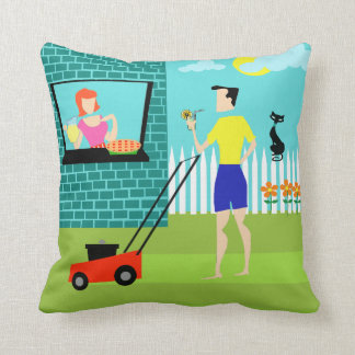 Retro Saturday Morning Throw Pillow
