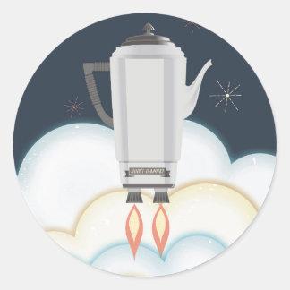 Retro sci-fi coffee pot percolator rocket ship round sticker