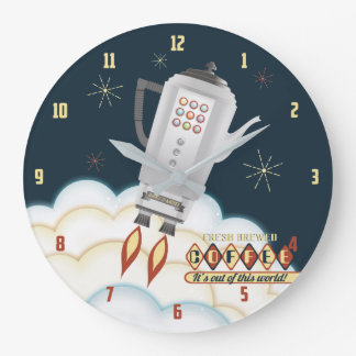 Retro sci-fi coffee pot rocket kitchen clock