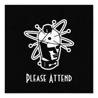 Retro Sci-Fi Robot Head - Black & White Invite