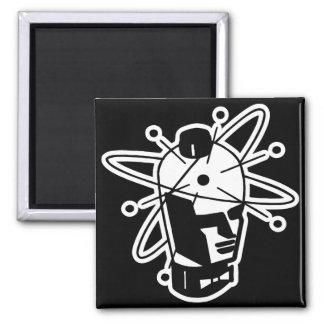 Retro Sci-Fi Robot Head - Black & White Fridge Magnets
