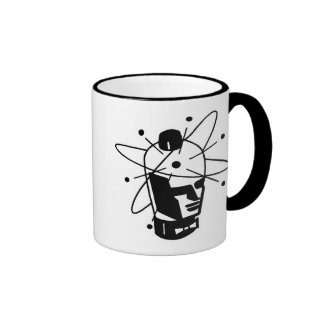 Retro Sci-Fi Robot Head - Black & White Ringer Mug