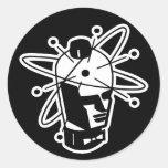 Retro Sci-Fi Robot Head - Black & White Round Sticker