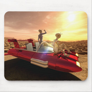 Retro Sci-Fi Sunset on Mars Mouse Pad