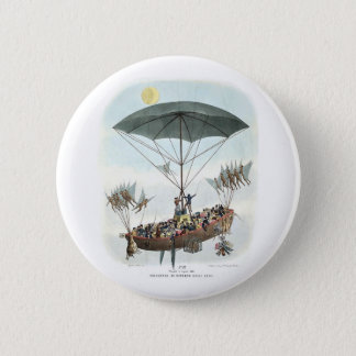 Retro Science Fiction - Flying to the Moon 6 Cm Round Badge