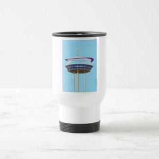 Retro Science fiction skyscraper Travel Mug