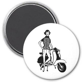 Retro Scooter Girl 7.5 Cm Round Magnet
