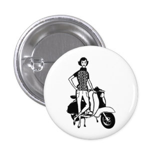 Retro Scooter Girl Pin