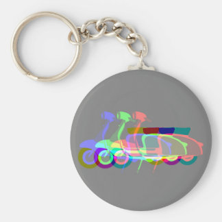 Retro Scooter Multi Print Round Key Ring Basic Round Button Key Ring