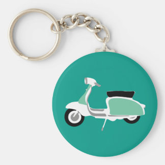 Retro Scooter Round Teal Key Ring Basic Round Button Key Ring