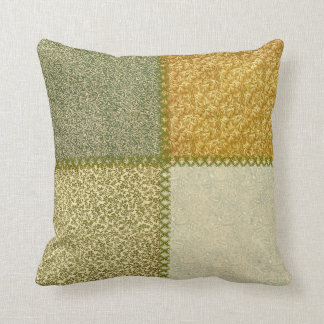 Retro Scrap Patchwork Mustard Greens Pillow