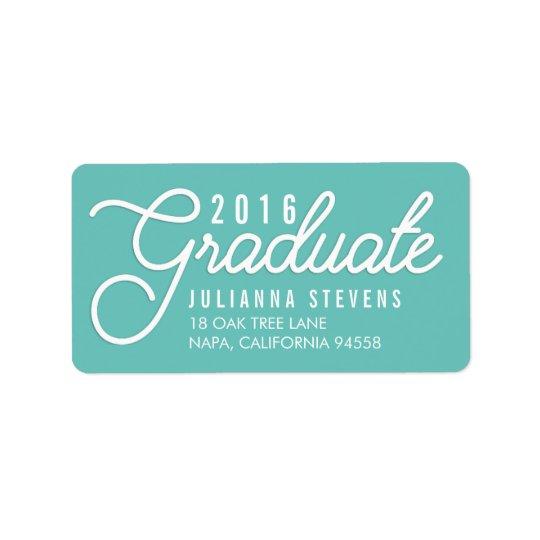 Retro Script Aqua Graduation Return Address Label