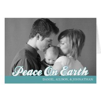 Retro Script Peace On Earth Card (Aqua)