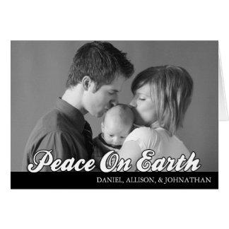 Retro Script Peace On Earth Card (Black)