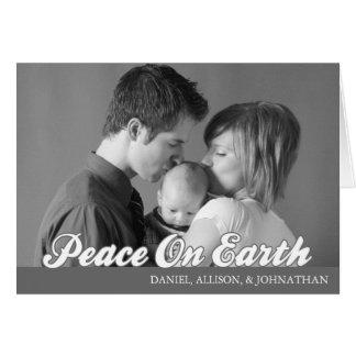 Retro Script Peace On Earth Card (Dark Gray)