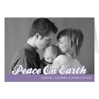 Retro Script Peace On Earth Card (Eggplant)