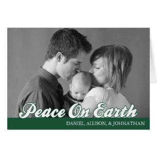 Retro Script Peace On Earth Card (Evergreen)