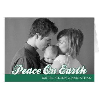 Retro Script Peace On Earth Card (Green)