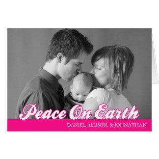 Retro Script Peace On Earth Card (Hot Pink)