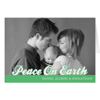 Retro Script Peace On Earth Card (Mint Green)
