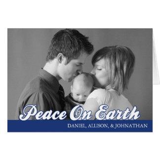 Retro Script Peace On Earth Card (Navy Blue)