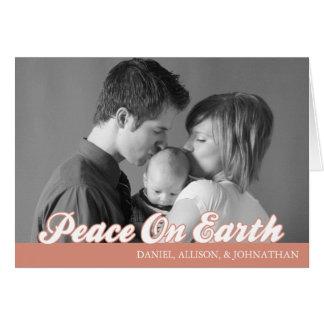 Retro Script Peace On Earth Card (Orange)