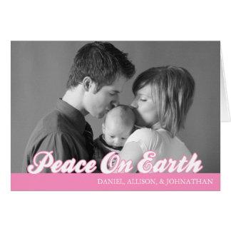 Retro Script Peace On Earth Card (Pink)