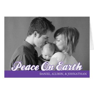 Retro Script Peace On Earth Card (Plum Purple)