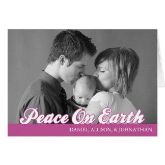 Retro Script Peace On Earth Card (Raspberry)
