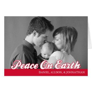 Retro Script Peace On Earth Card (Red)