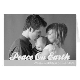 Retro Script Peace On Earth Card (Silver)