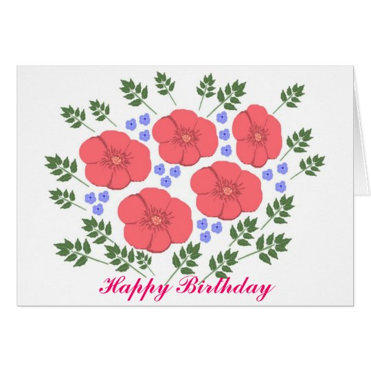 Retro Seventies floral Birthday Card Add Name
