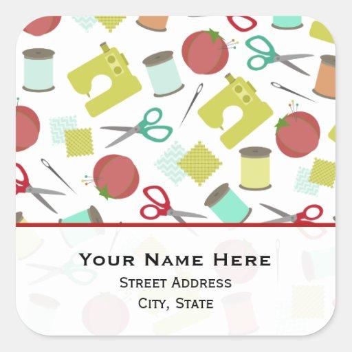 Retro Sewing Themed  Address Sticker