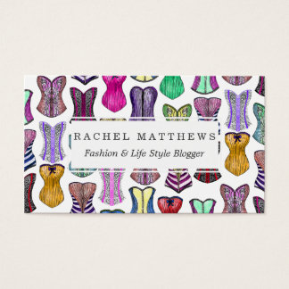Retro Sexy Colorful Girly Corsets Pattern Business Card