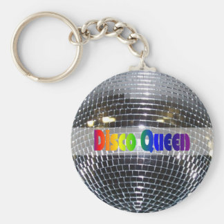 Retro Shiny Silver Disco Ball Disco Queen 80s Basic Round Button Key Ring