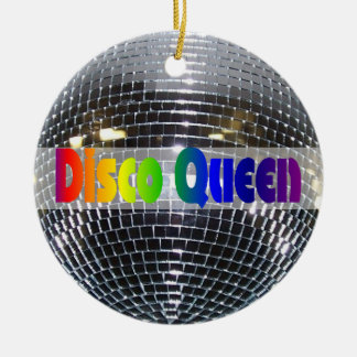 Retro Shiny Silver Disco Ball Rainbow Disco Queen Ceramic Ornament