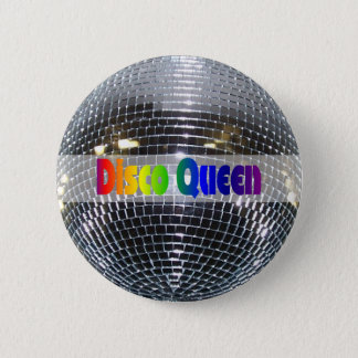 Retro Shiny Silver Mirror Disco Ball Disco Queen 6 Cm Round Badge