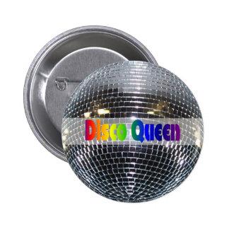 Retro Shiny Silver Mirror Disco Ball Disco Queen Buttons