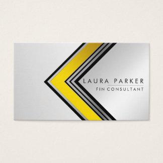 Retro Silver Gold Geometrical Finance Modern Business Card