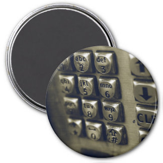 Retro Silver Telephone Buttons 7.5 Cm Round Magnet
