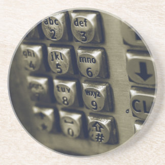 Retro Silver Telephone Buttons Coaster