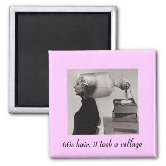 Retro Sixties Hair Fridge Magnet