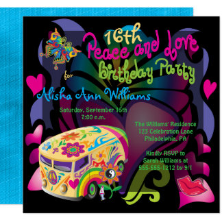 Retro Sixties Peace and Love 16th Birthday Party 13 Cm X 13 Cm Square Invitation Card