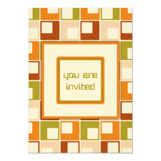 Retro Sixties Squares Pattern Personalized Card