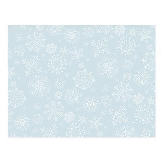 Retro Sketch Frozen Snowflakes on Ice Blue Postcard
