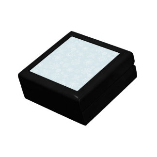 Retro Sketch Frozen Snowflakes on Ice Blue Small Square Gift Box