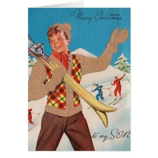 Retro Ski Christmas Card for Son