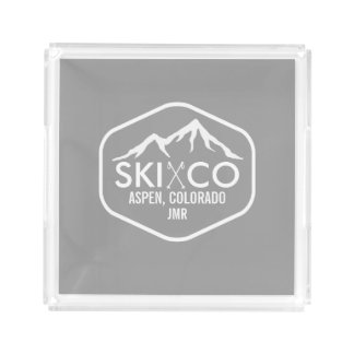 Retro Ski Mountain Aspen Colorado Monogrammed Acrylic Tray